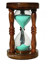 "Sand Clock( Hour Glass)- 15 Minutes Pure Shesham wood ""GREEN SAND"""